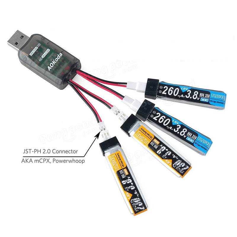 AOKoda CX405 4CH Micro USB Battery Charger For 1S E010 Tiny Whoop Lipo LiHV Battery - SNHE
