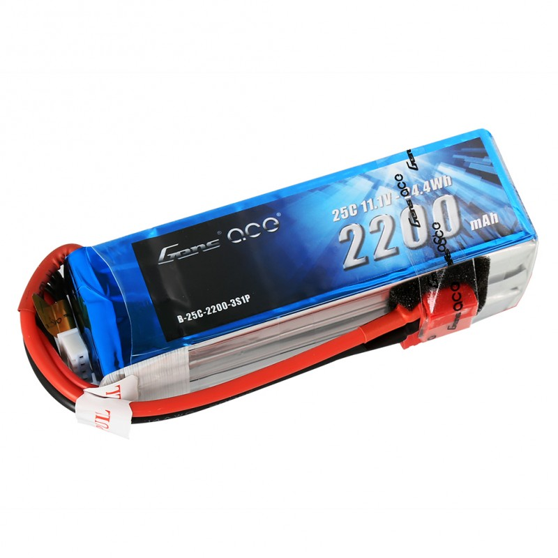 Gens ace 2200mAh 3S 11.1V 25C Lipo Battery Pack with Deans plug - SNHE