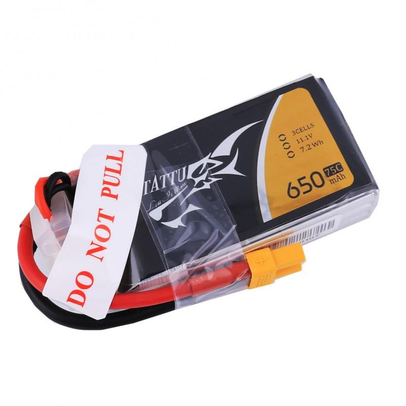 Tattu 650mAh 3S1P 75C 11.1V Lipo Battery Pack with XT30 plug - SNHE