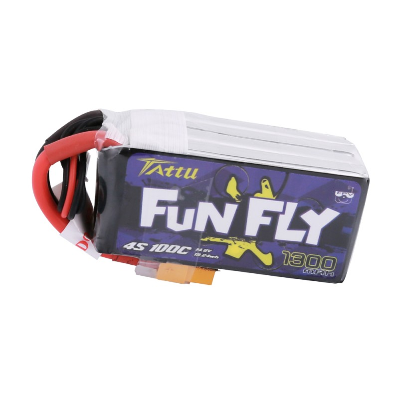 Tattu <b>FunFly 1300mAh</b> 100C 14.8V 4S1P lipo battery pack with XT60 Plug - SNHE