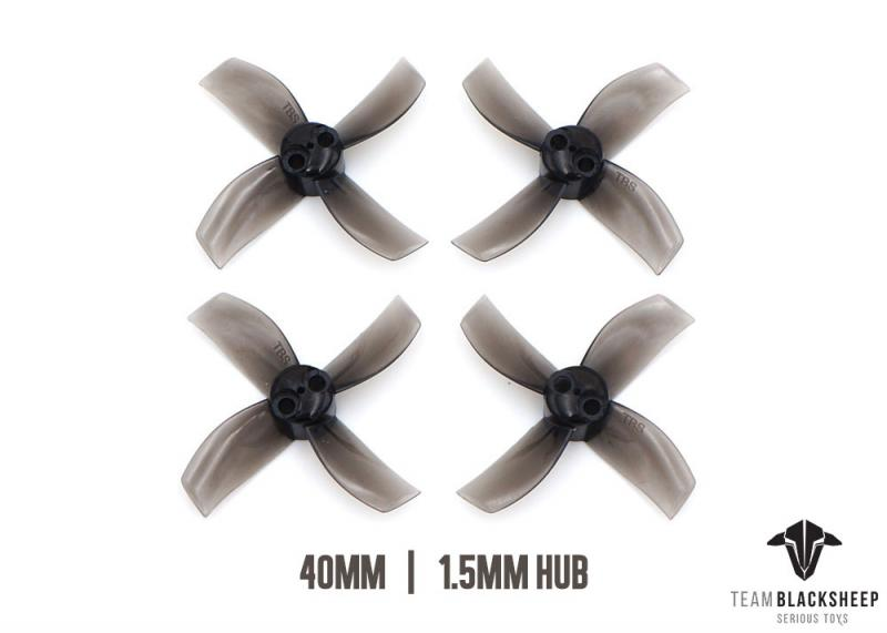 TBS MICRO BRUSHLESS PROPS <b>4BLADE 40MM (BLACK) (1.5MM HUB)</b> - SNHE
