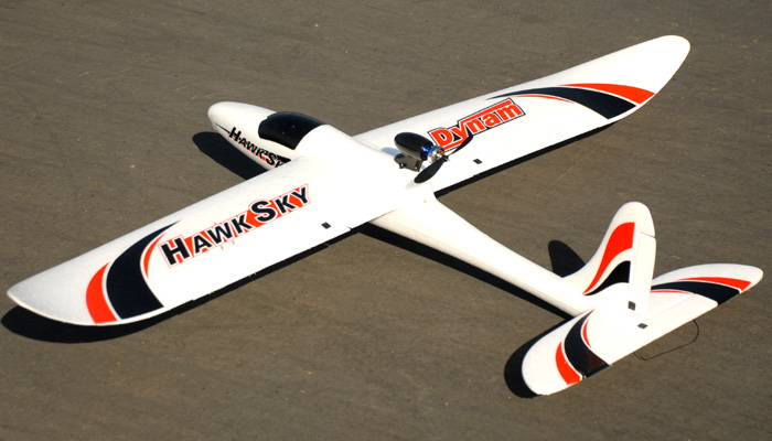 Dynam 2.4Ghz Hawk Sky 4 Channel Electric Brushless Powered Glider RTF - SN Hobbies