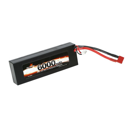 7.4V 6000mAh 2S 25C LiPo, Hard Case: Deans - SN Hobbies