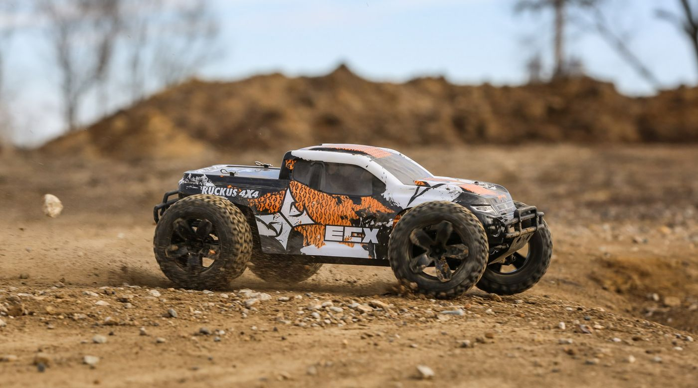 ECX 1/10 Ruckus 4WD Monster Truck Brushed RTR, Orange/White - SNHE