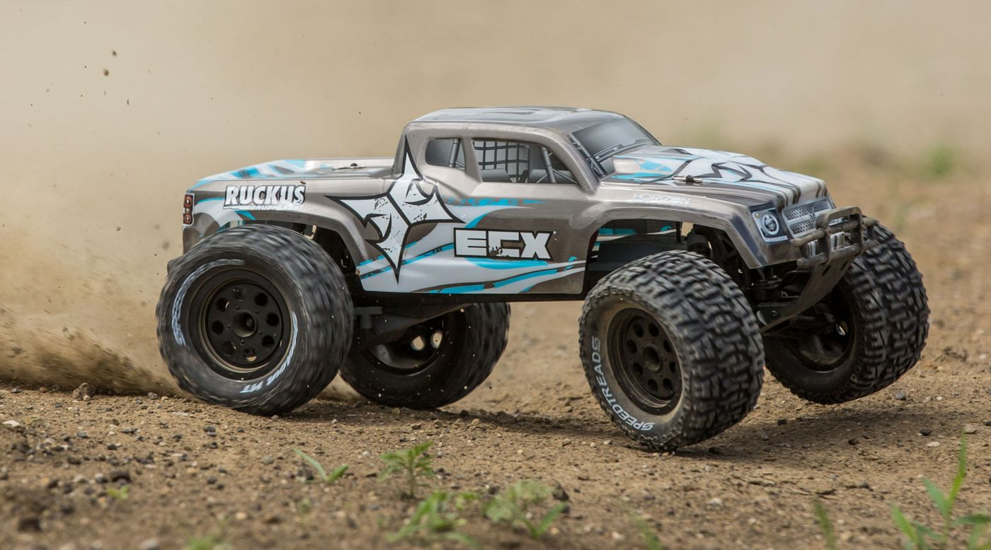 ECX 1/10 Ruckus 2WD Monster Truck Brushless with LiPo RTR, Silver - SNHE