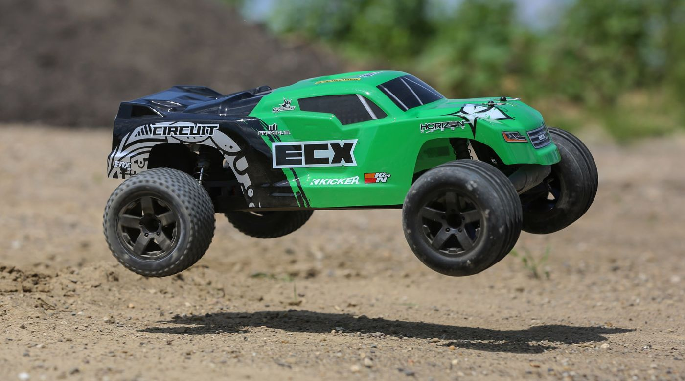 ECX 1/10 Circuit 2WD Stadium Truck Brushed RTR, Green - SNHE