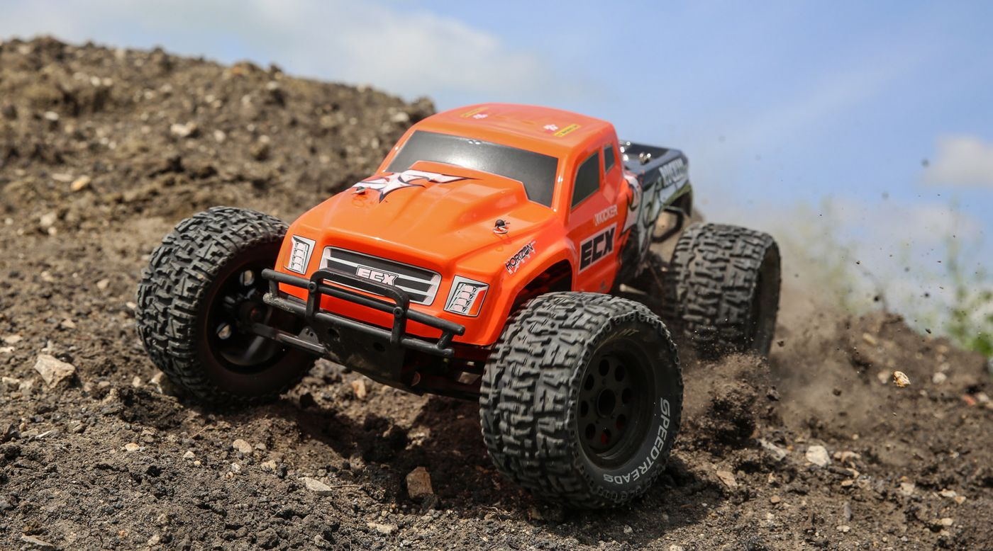 ECX 1/10 Ruckus 2WD Monster Truck Brushed RTR, Orange - SNHE