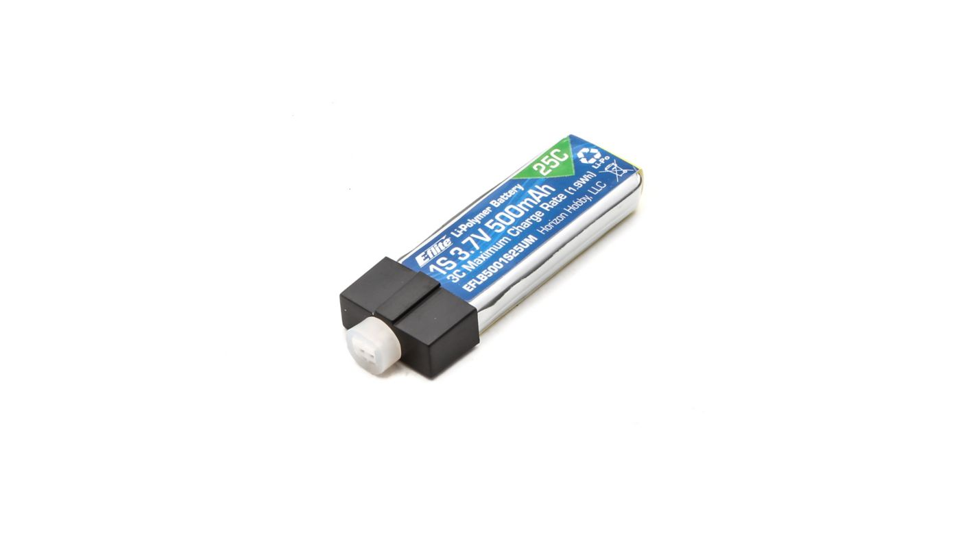 E-flite 3.7V 500mAh 1S 25C LiPo, High Current UMX Connector - SNHE