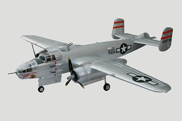 FMS 1470mm B-25 (Silver) Bomber Twin Brushless RC Warbird Plug-N-Play w/ Electric Retracts - SNHE
