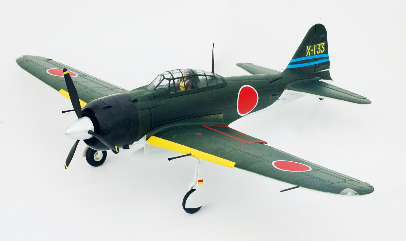 FMS 1400mm Zero A6M3 Brushless Powered RC Warbird Plug-N-Play w/ Flaps & Electric Retracts - GREEN - SNHE