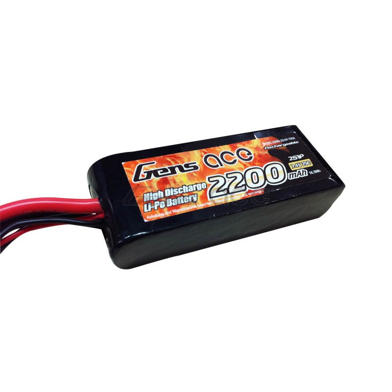 Gens Ace 2200mAh 7.4V 25C 2S1P Lipo Battery W/TRX Connector - SNHE
