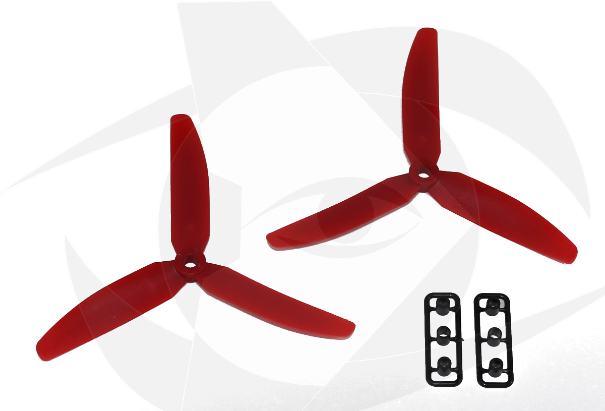 Gemfan 3 Blade Propeller - 5 x 3 (2PCS, CW & CCW) - <font color=&quot;red&quot;><b>RED</b></font> - SNHE