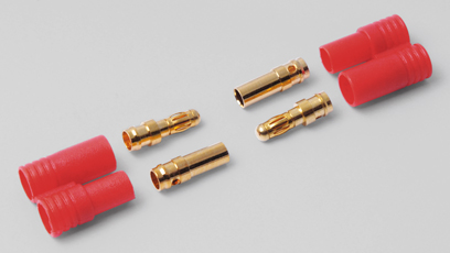 HYPERION LIFEPO CONNECTORS - 2X 3.5 MM GOLD WITH INSULATORS - SN Hobbies