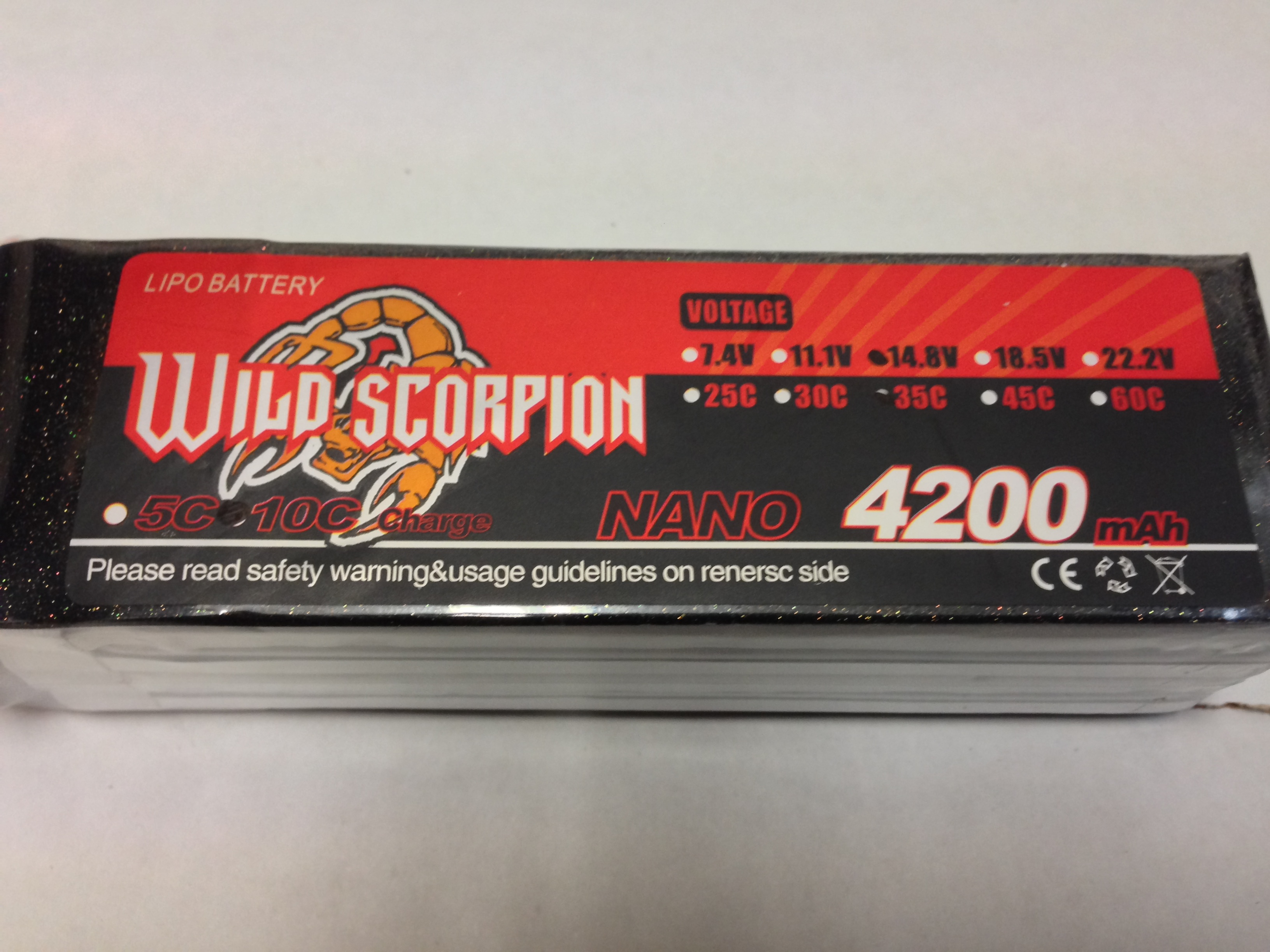Wild Scorpion 4S 14.8v 4200mah 35C Lipo Battery - SNHE