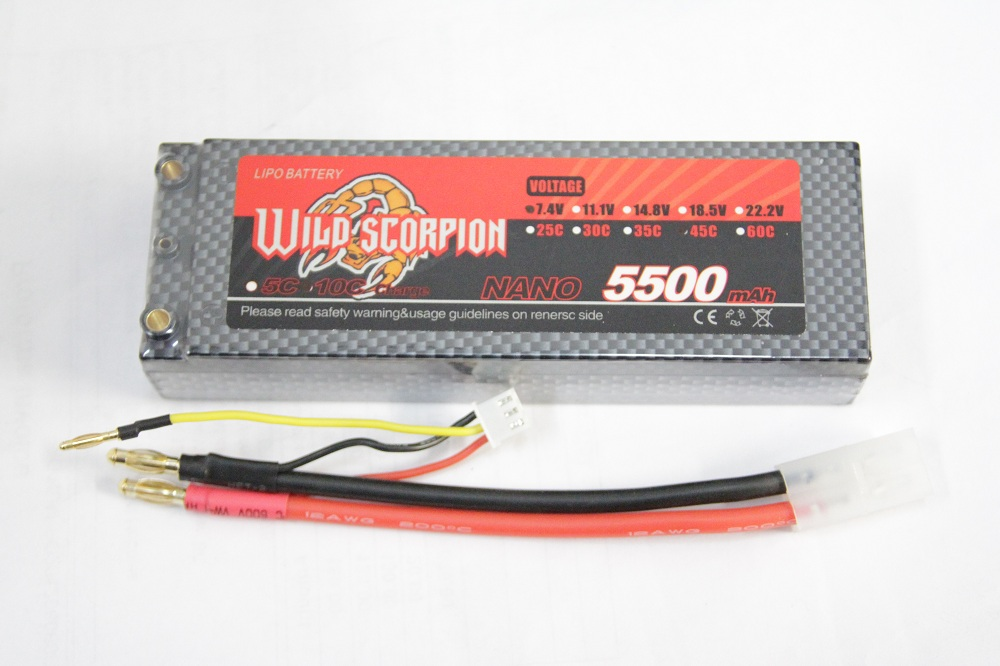 Wild Scorpion 2S 7.4V 5500mah 45C Li-Po Nano Battery Hard Case w/ TAMIYA CONNECTOR - SN Hobbies
