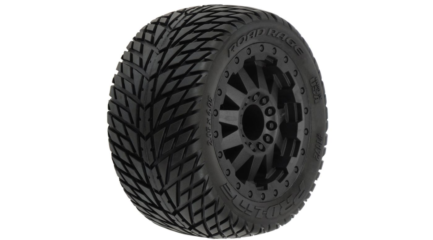 Proline Racing Road Rage 2.8 All Terrain Tires, Black F11 Wheels, Mounted, TRA Bead - SNHE
