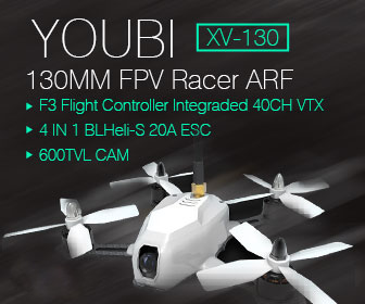 Youbi XV-130 130MM FPV Racer ARF with F3 Integraded 40CH VTX 600TVL CAM 4 IN 1 BLHeli_S 20A ESC - <b>WHITE</b> - SNHE