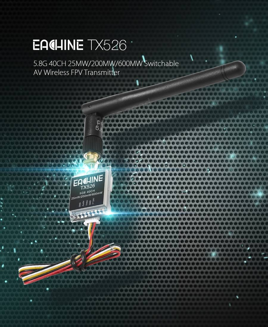 Eachine TX526 5.8G 40CH 25MW/200MW/600MW Switchable AV Wireless FPV Transmitter RP-SMA Female - SNHE