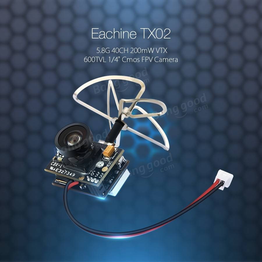 Eachine TX02 NTSC Super Mini AIO 5.8G 40CH 200mW VTX 600TVL 1/4 Cmos FPV Camera - SNHE