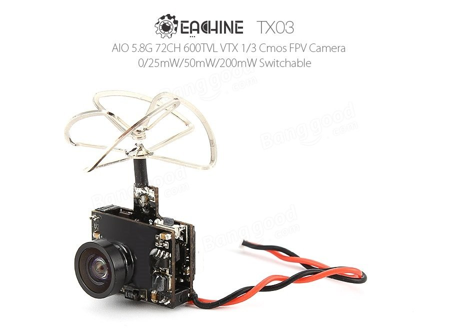 Eachine TX03 NTSC Super Mini 0/25mW/50mW/200mW Switchable AIO 5.8G 72CH VTX 600TVL 1/3 Cmos FPV Camera - SNHE