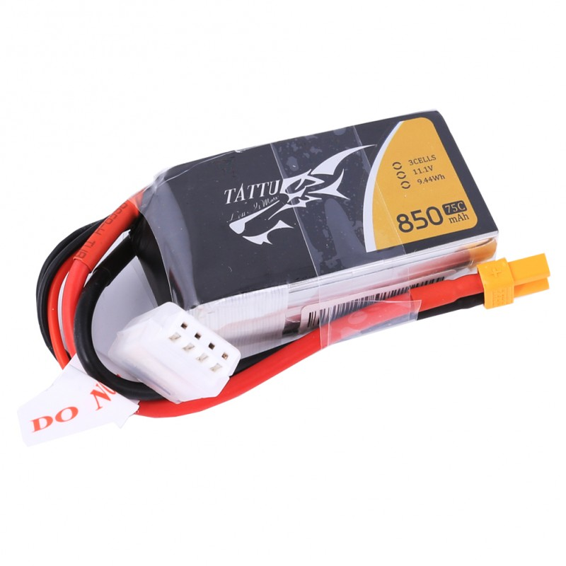 TATTU 850MAH 11.1V 75C 3S1P LIPO BATTERY PACK WITH XT30 PLUG - SNHE