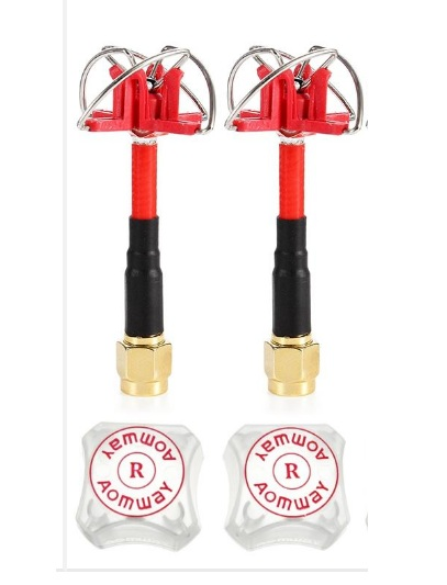 Aomway RHCP 3dBi 60mm Short Antenna FPV 4-leaf Clover Antenna 1-Pair <b>RP-SMA</b> for TX RX - SNHE
