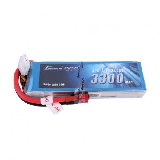 Gens ace 3300mAh 11.1V 45C 3S1P Lipo Battery Pack Deans plug - SNHE