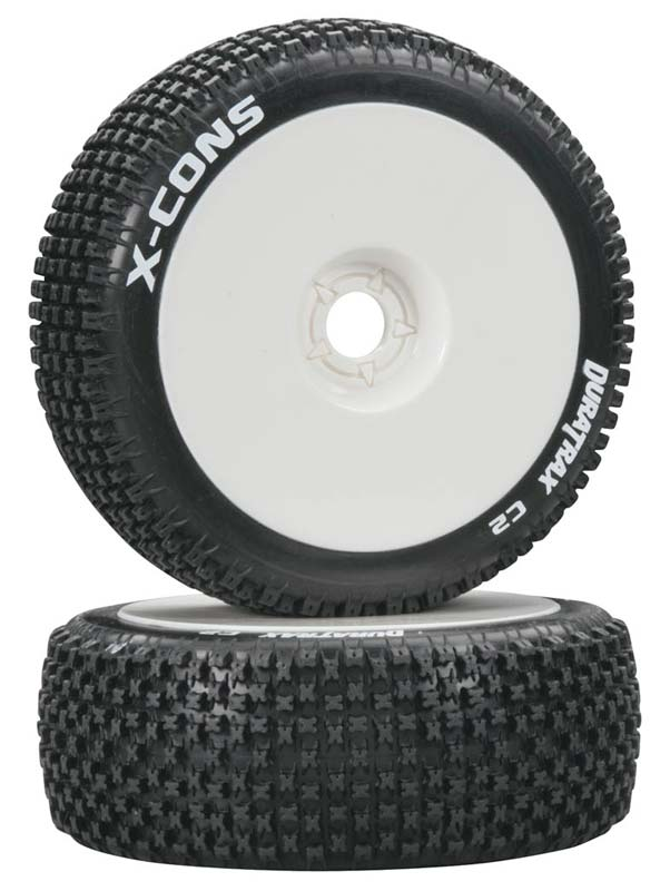 Duratrax 1/8 X-Cons Buggy Tire C2 Mounted White (2) - SNHE