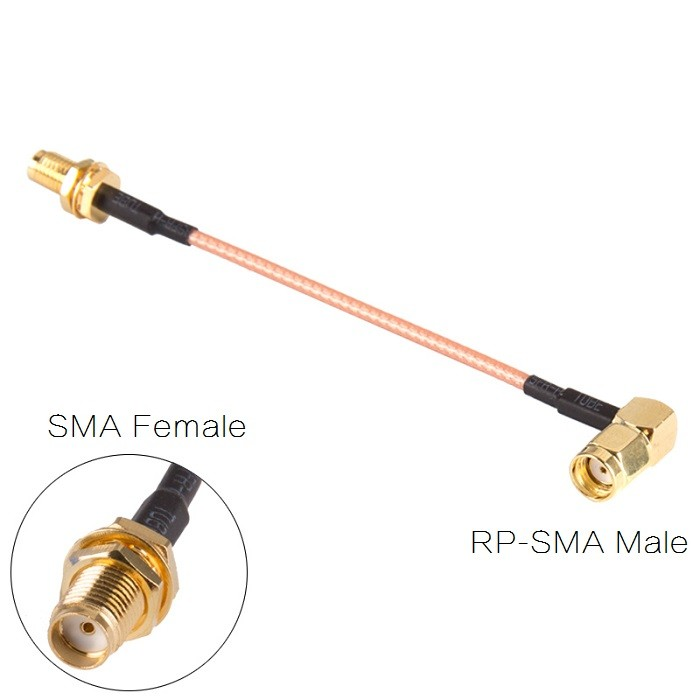 90 Degree <b>SMA to RP-SMA</b> 10CM Antenna Adapter Extension Cable - SNHE