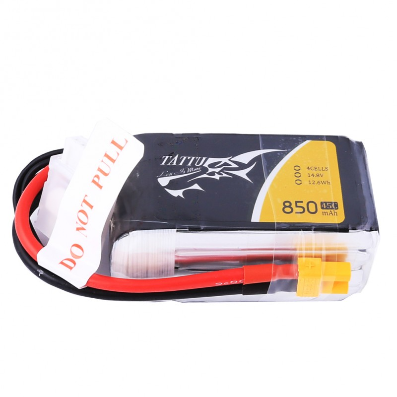 TATTU 850mAh 14.8V 75C 4S1P Lipo Battery Pack with XT30 plug - SNHE