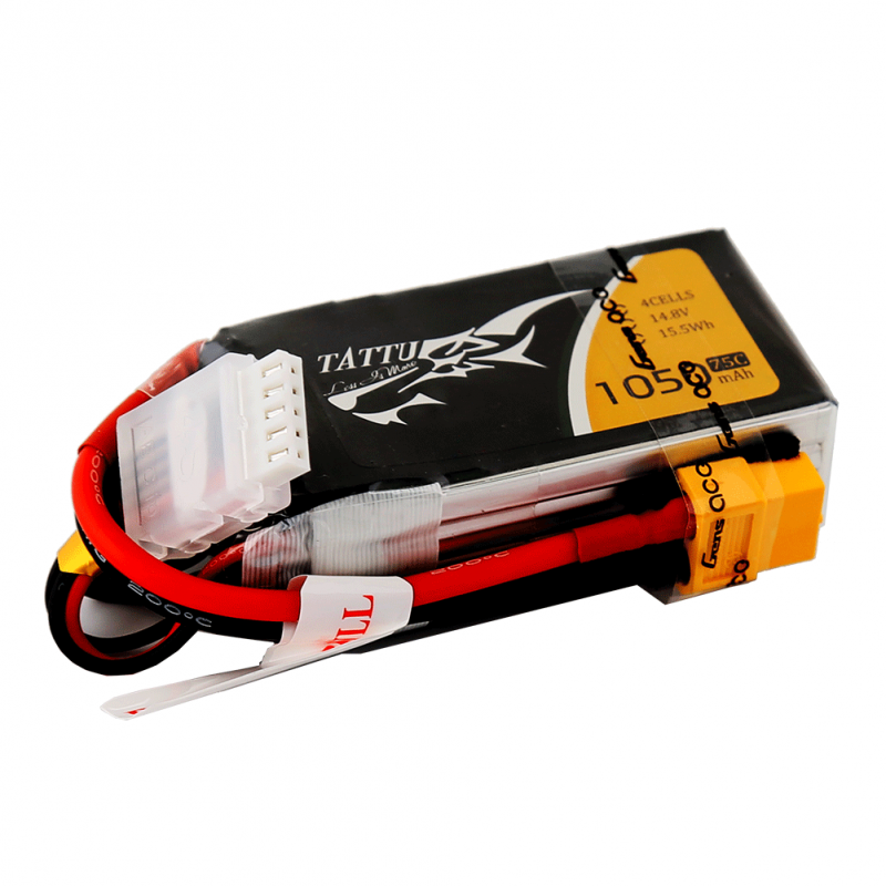 Tattu 1050mAh 14.8V 75C 4S1P Lipo Battery Pack with XT60 plug - SNHE