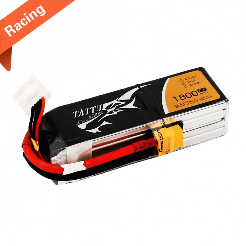 Tattu 1800mAh 14.8V 75C 4S1P Lipo Battery Pack Racing with XT60 plug - SNHE