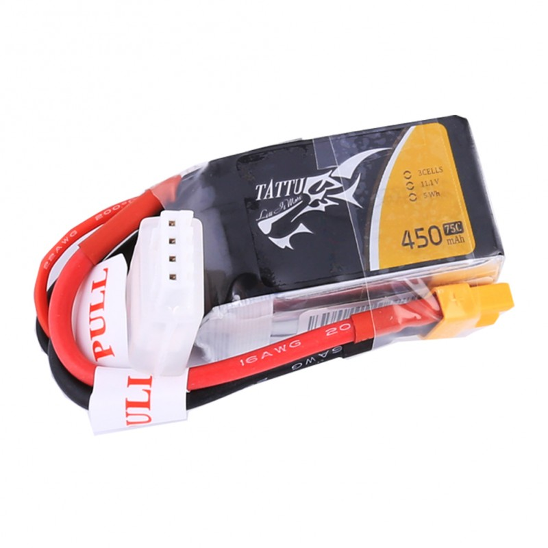 Tattu 450mAh 11.1V 75C 3S1P Lipo Battery Pack with XT30 plug - SNHE