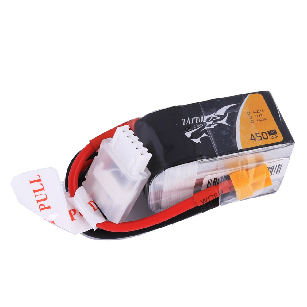 Tattu 14.8V 75C 4S1P 450mAh Lipo Battery Pack with XT30 plug - SNHE