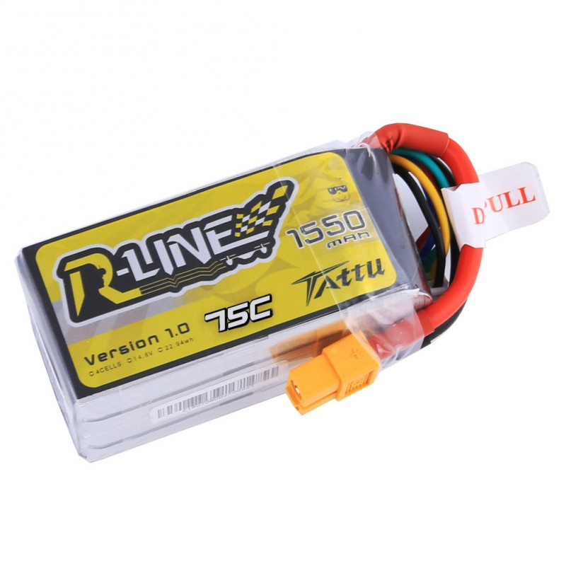 Tattu <b>R-Line</b> 1550mAh 14.8v 4S1P 75C lipo battery pack with XT60 Plug - SNHE