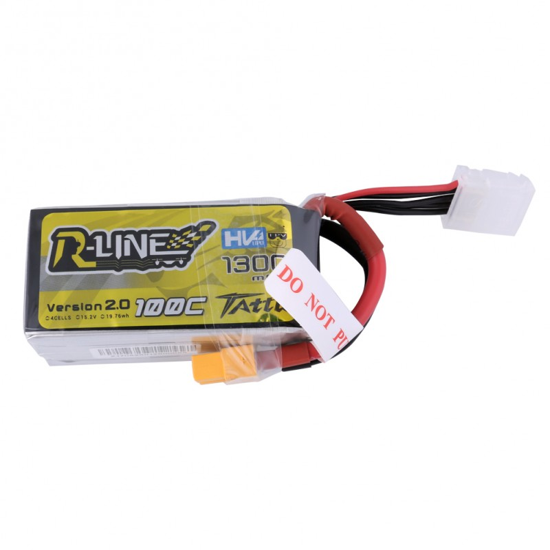 Tattu <b>R-Line Version 2.0 1300mAh 100C</b> 4S1P High Voltage Lipo Battery Pack with XT60 Plug - SNHE