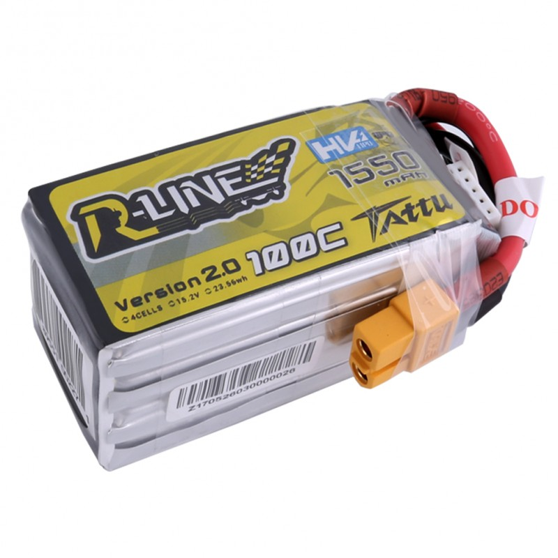 Tattu <b>R-Line Version 2.0 1550mAh 100C</b> 4S1P High Voltage Lipo Battery Pack with XT60 Plug - SNHE