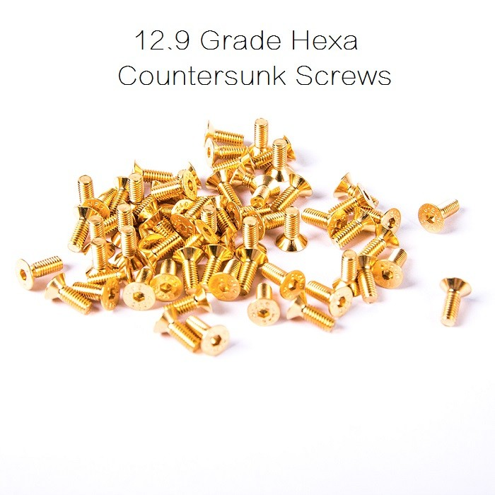 12.9 Grade Gold Hexa Countersunk Screws <b>M3*6mm</b> - 5pcs - SNHE
