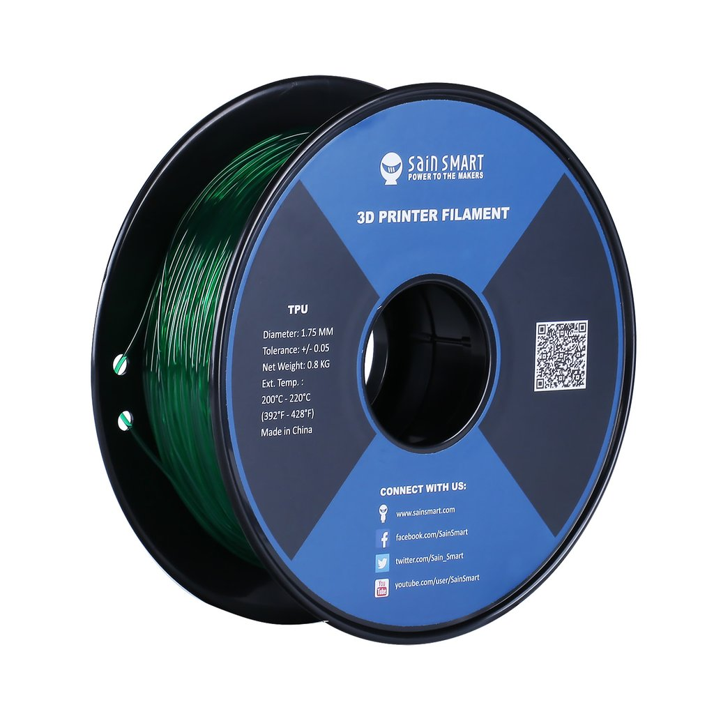 Sainsmart TPU Flexible Filament 1.75mm 0.8kg/1.76lb - Green