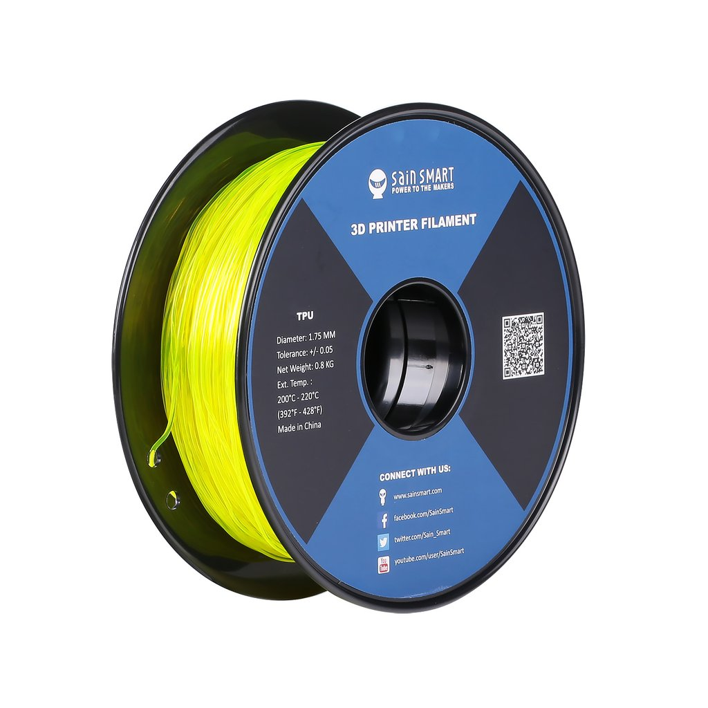 Sainsmart TPU Flexible Filament 1.75mm 0.8kg/1.76lb - Yellow