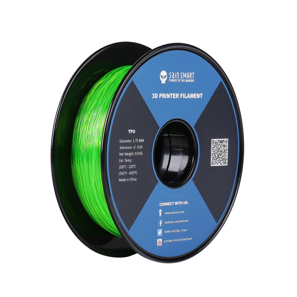 Sainsmart TPU Flexible Filament 1.75mm 0.8kg/1.76lb - Emerald