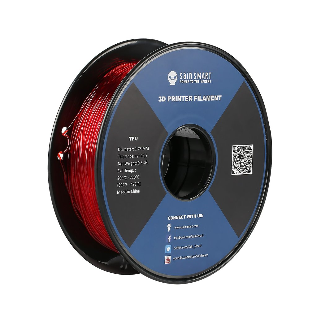 Sainsmart TPU Flexible Filament 1.75mm 0.8kg/1.76lb - Red