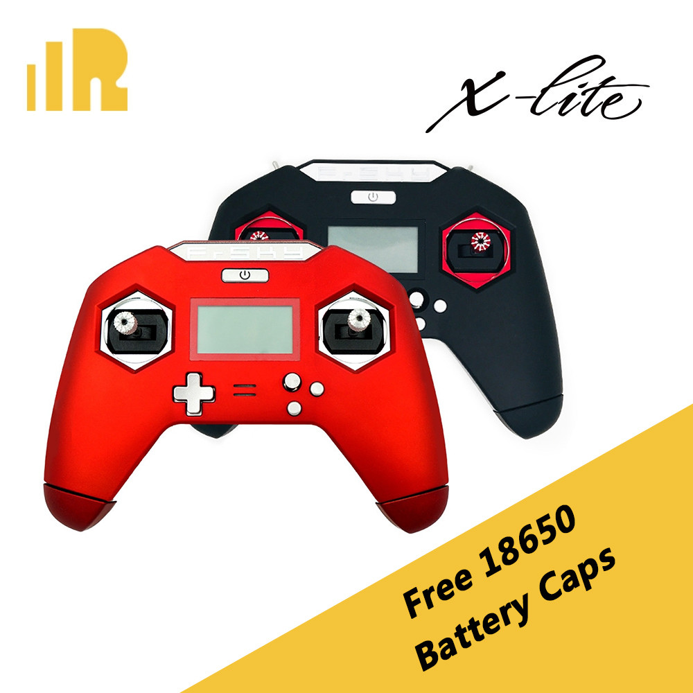 "FrSky Taranis X-Lite (<font color=""red\""><b>Red</b></font>) with Free 18650 Battery Black Caps"