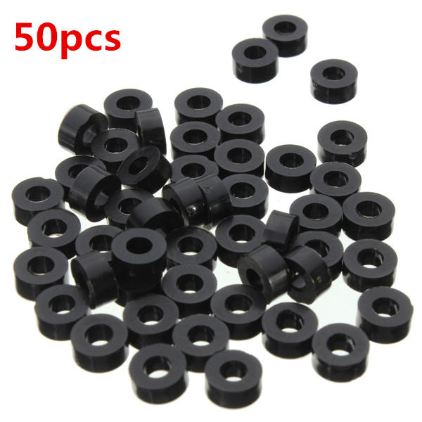 Suleve? M3NW2 Flat Nylon Washer Black Round Spacer Waser OD <b>8mm</b> for M3 Screws 50pcs