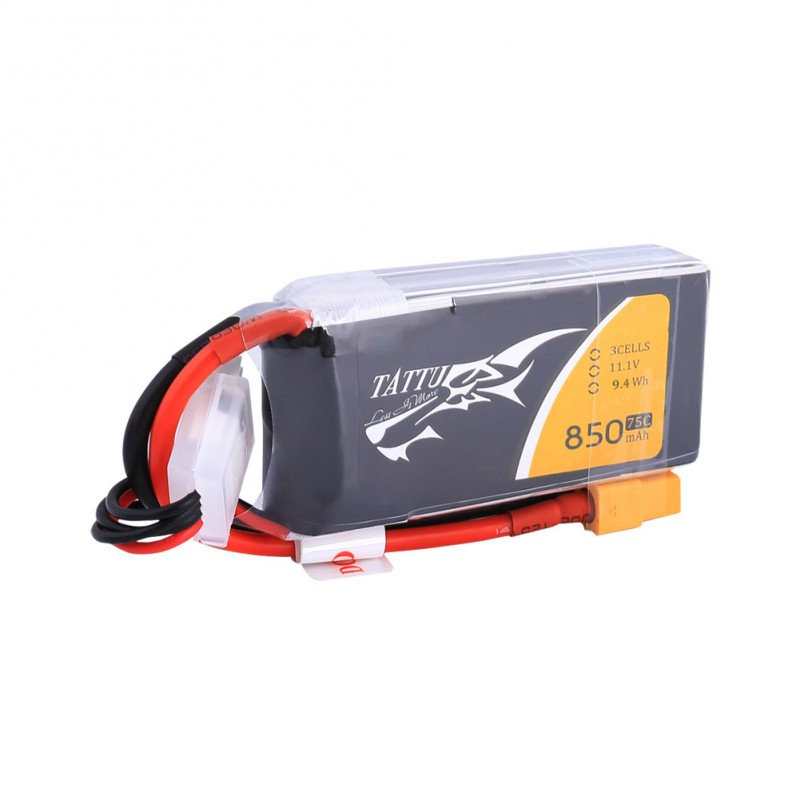 Tattu 850mAh 11.1V 75C 3S1P Lipo Battery Pack with XT60 plug - SNHE