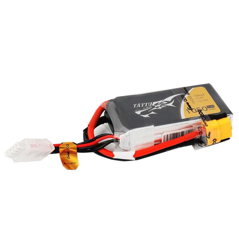 Tattu 1050mAh 11.1V 75C 3S1P Lipo Battery Pack with XT60 plug - SNHE