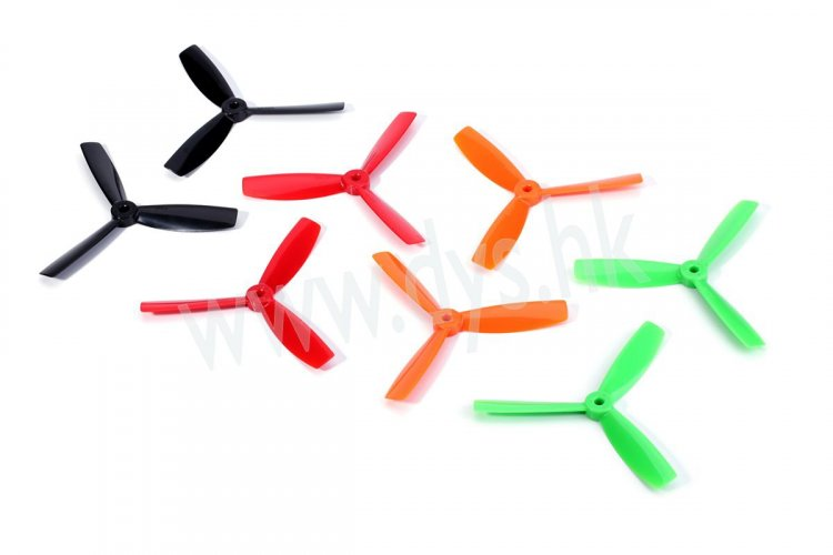 DYS 4045 3-Blade bullnose props (CW/CCW) 1 Pair (Orange)