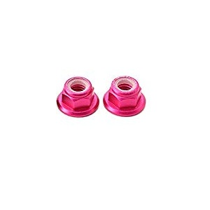 M5 Aluminum Nylon Insert Self-Lock Nuts - <b>Pink CW</b> 2pcs