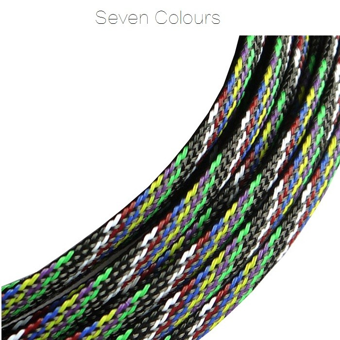 <b>6mm</b> Snakeskin Mesh Wire Protecting PET Nylon Cable Sleeve <b>(1 Meter) - </b><b>Seven Colours</b>