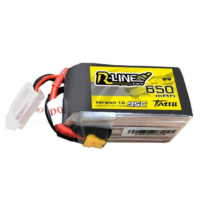 Tattu <b>R-Line 650mAh</b> 22.2V 95C 6S1P Lipo Battery Pack with XT30 Plug